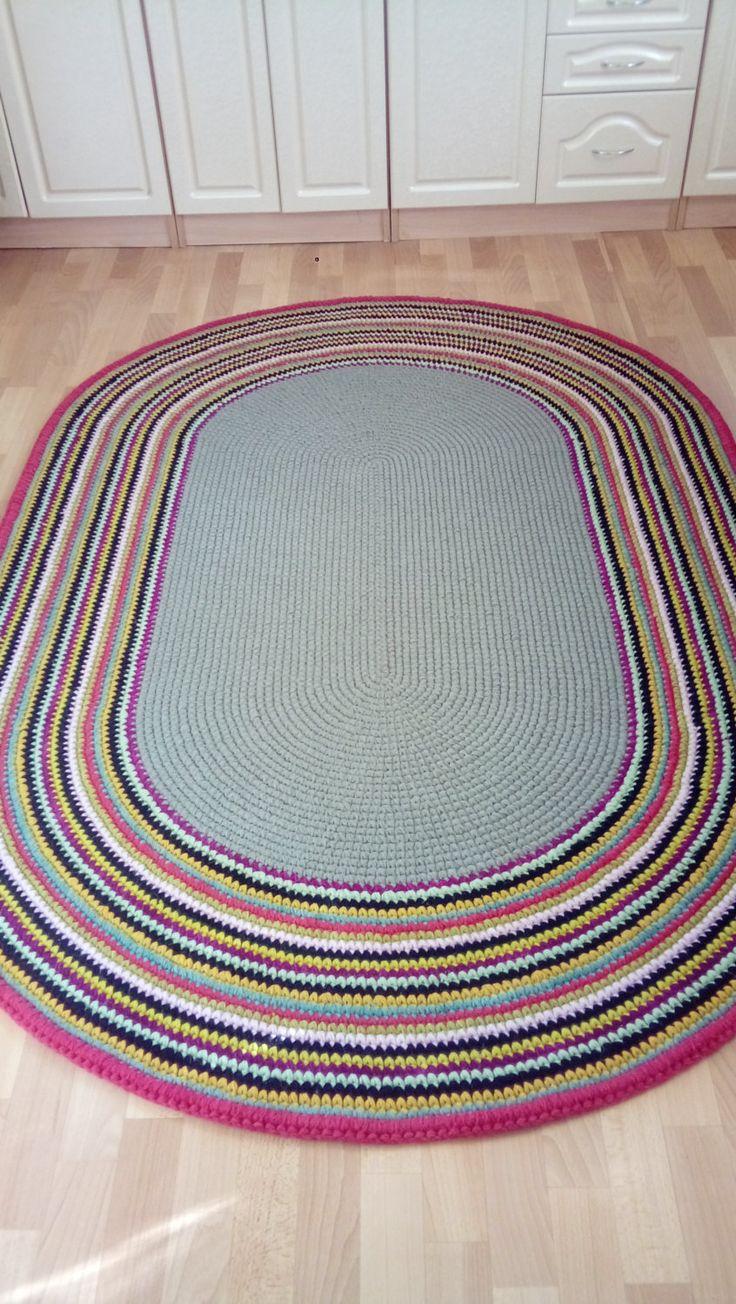 """Large crochet oval rug, 80''x60"""" (200cm x 150cm)/Oval Rug/Rug/Area Rugs/Floor…"""