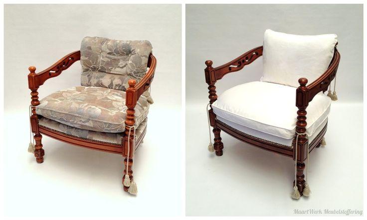 Voor en na van deze geerfde stoel. Nieuwe houtlaag en kussens. nu mooi wit! #MaartWerk #Meubelstoffering