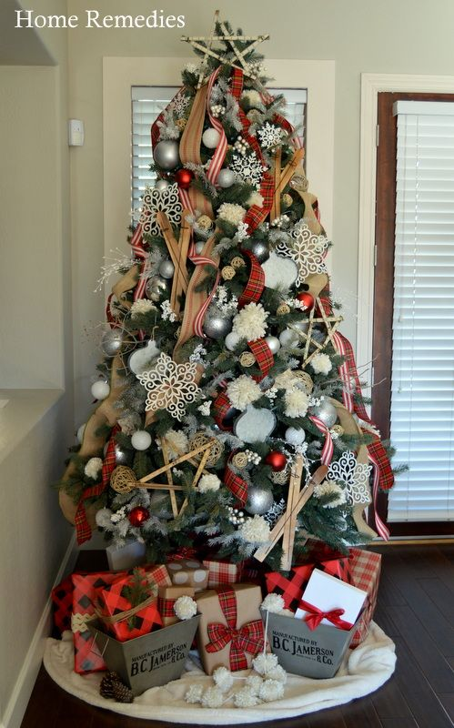 A Rustic and  Cozy Farmhouse Style  Christmas Tree from HomeRemediesRx.com