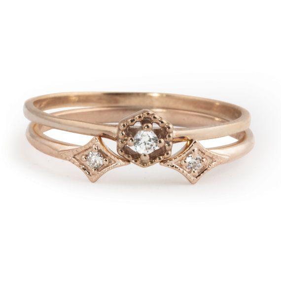 Stapel-Ring, offener Ring, Hexagon-Diamant-Ring und doppelte Sterne Diamantring. 14 k rose Gold, 14 Karat Gelbgold Gold, 14 k White gold