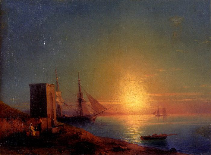 Aivazovsky Paintings-Figures In A Coastal Landscape At Sunset
