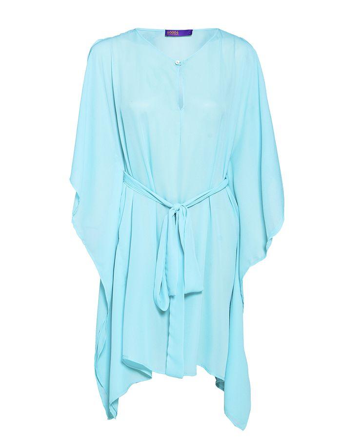 Kaftan mini dress in Aqua, available at www.46664fashion.com