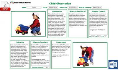 Written Observation Template now Available in Word Format
