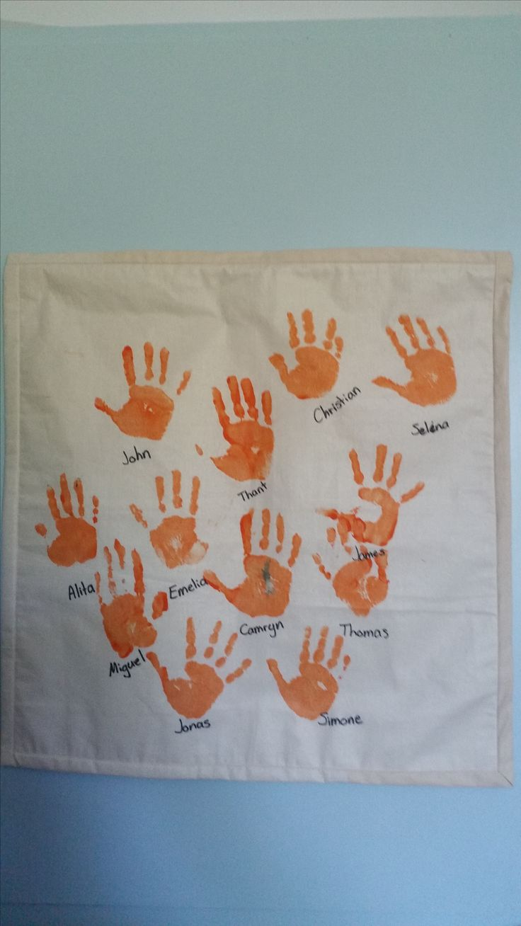 Wall hanging of hand prints for Jonas from Pre-School