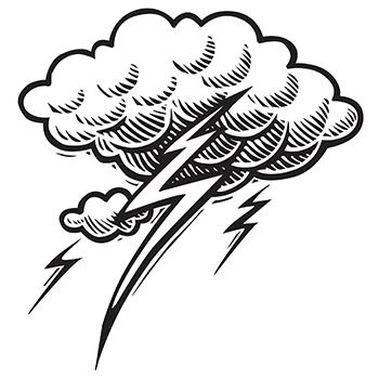 Lightning bolt cloud tattoo