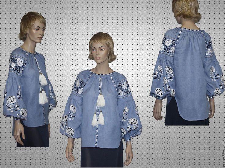 Купить Размер M Вышитая блузка рубашка Вита Кин Стиль - голубой, орнамент, валентино