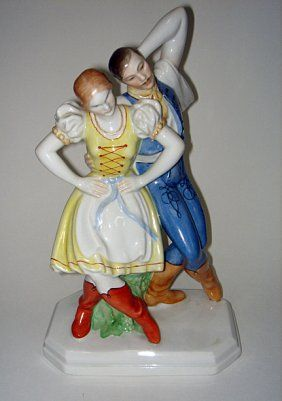Herend Boy and Girl | 218: Herend Figurine Dancing Boy & Girl ca1980's : Lot 218