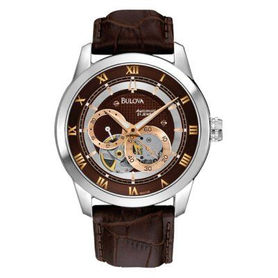 Bulova - Men\'s Brown Leather Strap Mechanical Automatic Watch - 96A120 - RRP: £325.00 - Online Price: £255.00