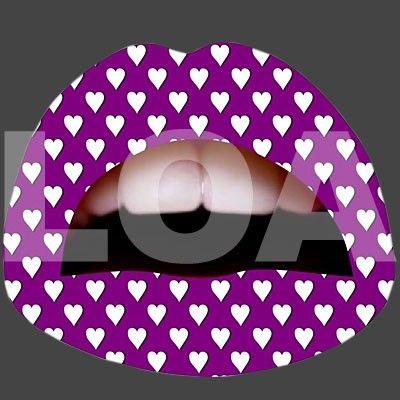 Facili da applicare di sicuro effetto i Lips Tattoo Temporary - Purple Hearts
