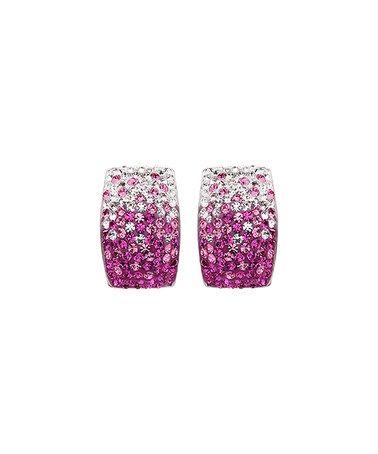 brilliance jayden star Another great find on #zulily! Pink & White Gradient Huggie Earrings With Swarovski® Crystals #zulilyfinds