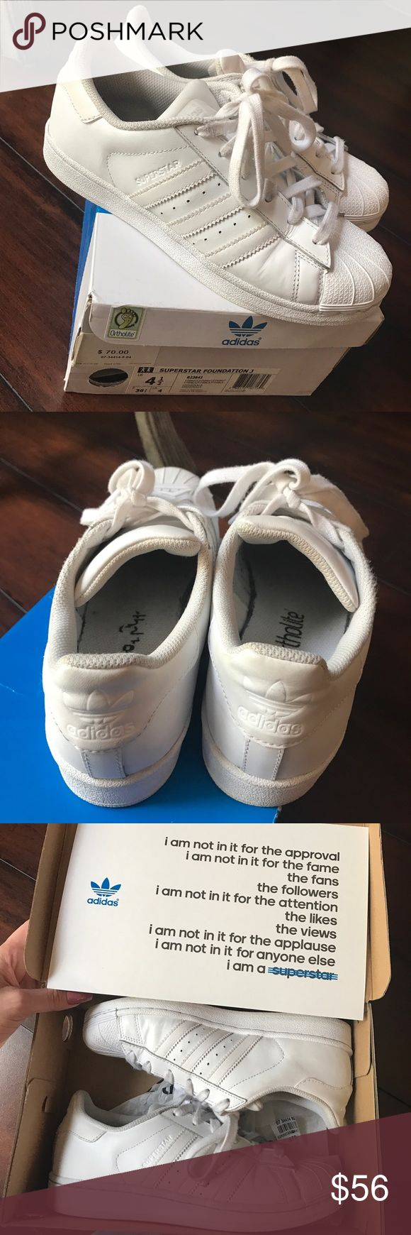 Adidas Superstar white size 4.5 All white adidas superstar, size 4.5 in kids. I am a size 6/6.5 in women's. Great condition only worn a few times. Comes with the box. Adidas Shoes Sneakers
