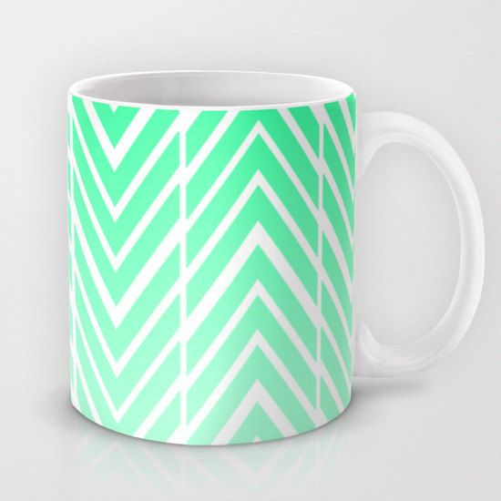Mint Green Coffee Mug - Green and White Arrows - Coffee Cup - 11 oz - 15 oz - Ceramic Mugs - Made to Order