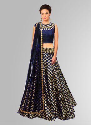 New Blue Color Jacquard Designer Lehengha Choli By Adorn Fashion Lehengas