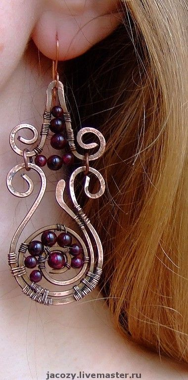 Handmade earrings. Fair Masters - handmade copper earrings Crimson. Handmade.