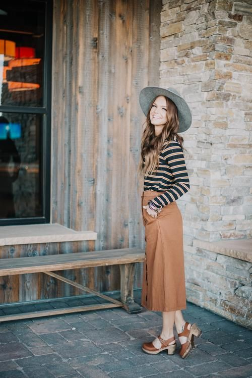 0bf1df5a4e Free people wilshire denim skirt in light denim in 2019 | Wear it | Modest  outfits, Denim fashion, Skirts
