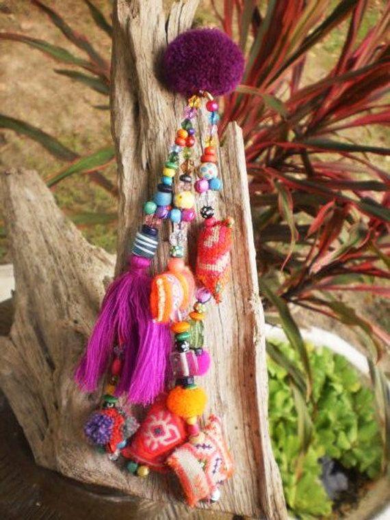 Silk tassel Purse Charm Hmong fabric pompoms beautiful beadwork