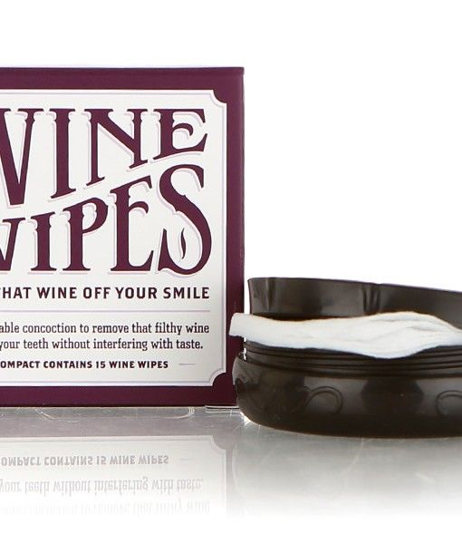 Wine Wipes - Whether you call it tannin' teeth, malbec mouth, or the red badge of courage, the stain red wine leaves on your teeth and mouth is eminently unattractive. With just one swipe, you can wipe that wine off your smile.