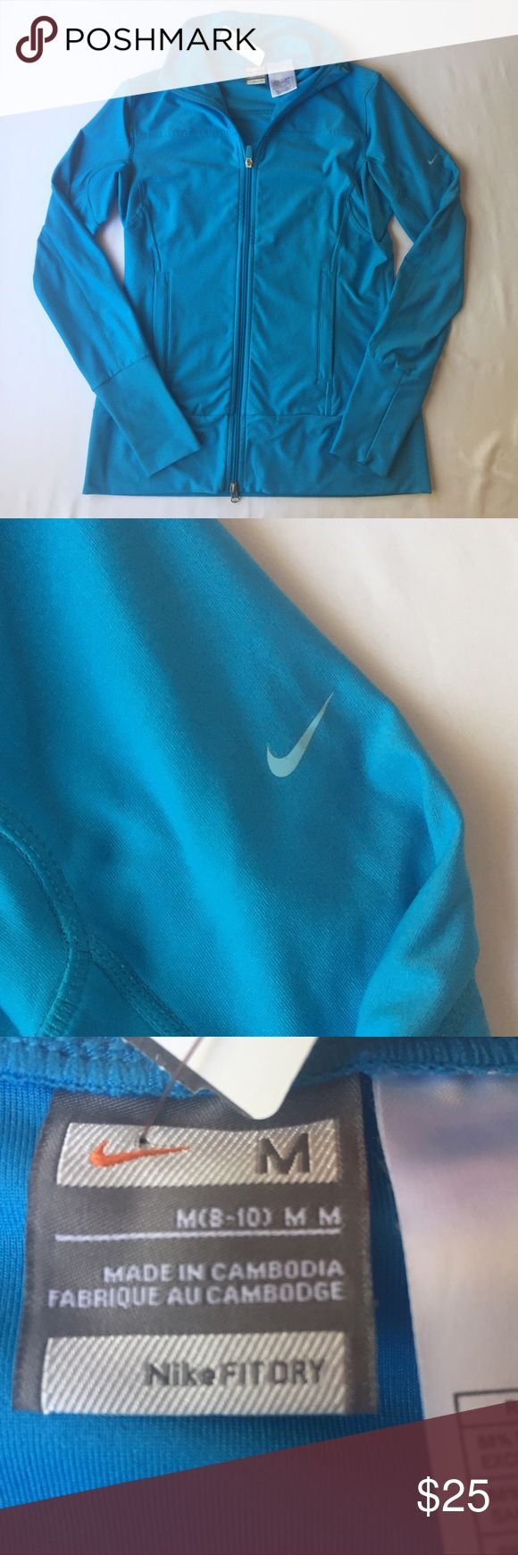 Nike Blue Zip up Jacket, M This sweet Nike Blue Zip up Jacket, M is perfect for any athletic adventure you may embark on! In excellent condition, no defects and comes from a smoke/pet free home. Nike Tops Sweatshirts & Hoodies