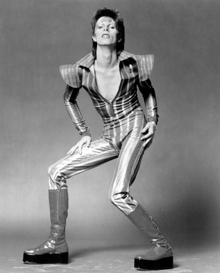 David Bowie poses for a portrait in his 'Ziggy Stardust' guise in June 1972; the absolute epitome of glam-rock.