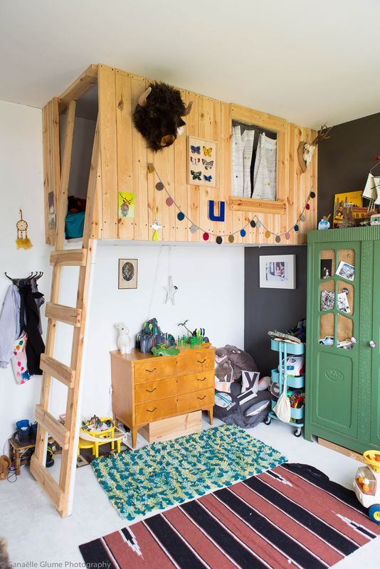 Love this fort style loft bed leaves tons of space and awesome dream potential