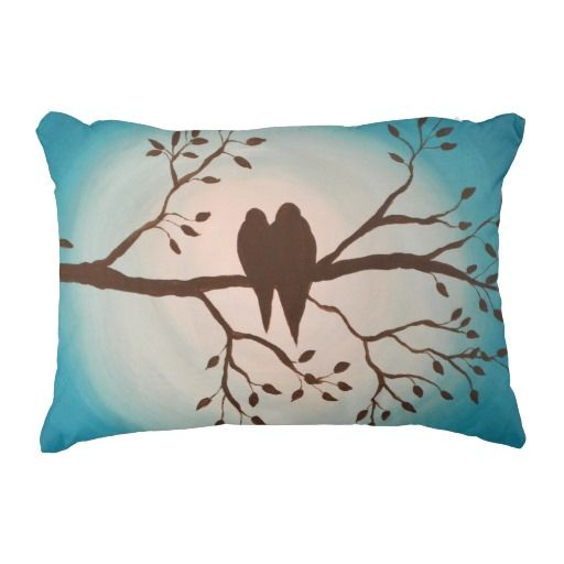 Birds on Branch 12 x 16 Pillow-This sweet silhouette of two birds on a branch is painted with an ombre turquoise background