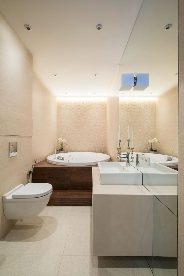 Contemporary bathroom with opulent bathtub