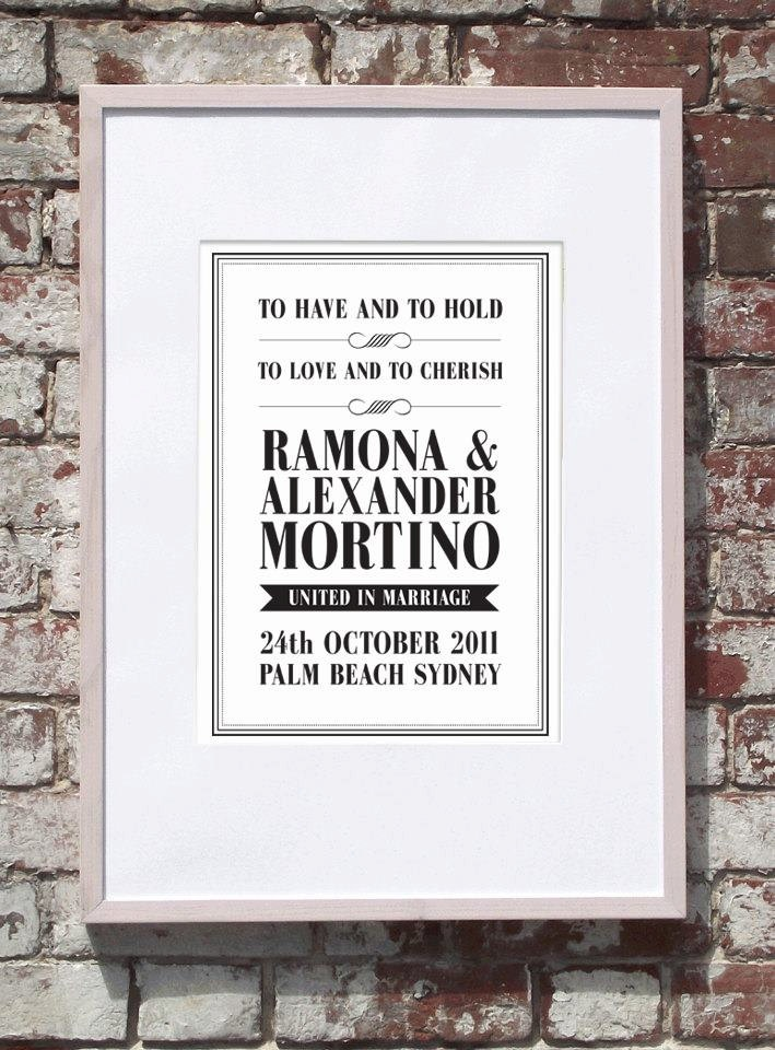 Elegant Customised Wedding A3 Print. $20.00, www.cocobluecreative.com