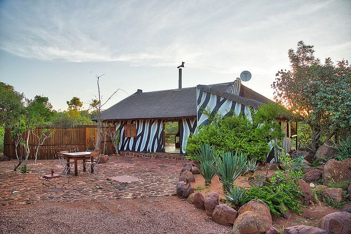 The Zebra Cafe, the breakfast area. The lodge's accommodation are made up of 5 African bush tents & 3 Ndebele chalets, all decorated in an African style.