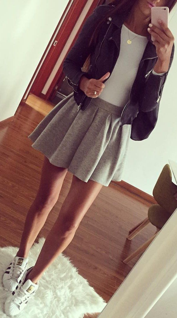 Leather Jacket // White Bodysuit // Grey Skirt // White Sneakers