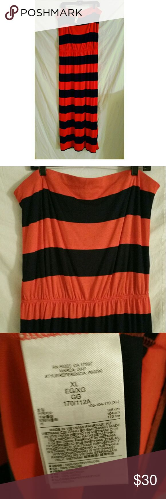 "Gap Striped Maxi Dress Strapless Maxi Dress Loose fitting top Length: 55"" Chest: 18.5"" Color: orange and navy GAP Dresses Maxi"