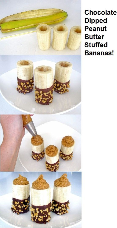 Chocolate Dipped Peanut Butter Stuffed Bananas