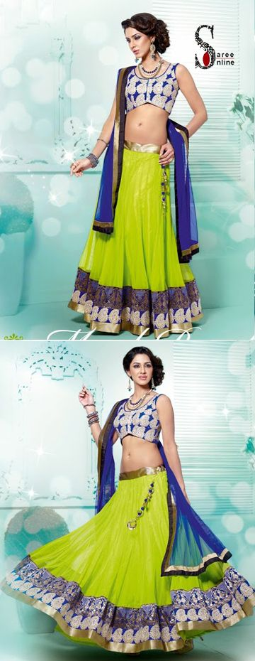 $109.00 Brighten up your summer with this green and blue net and georgette designer lehenga. Perfect for mehendi night!  http://www.sareeonline.com/proj/gallery/fullview.aspx?scode=rhl314