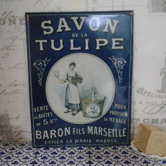 Vintage metalen reclame Sign Marseille zeep... Savon de la Tulipe... Tin Plaque advertentie... Franse keuken badkamer inrichting... Franse letters...