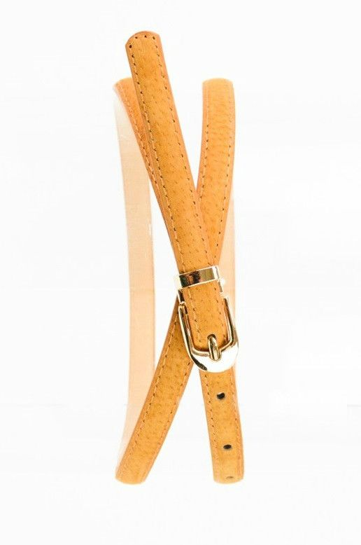 Skinny camel belt -- with gold clasp. - 42in long. (100% PVC)
