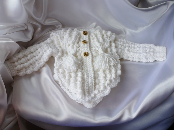 Girls crochet cardigan with a pointed collar & goes around the back