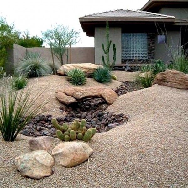 Backyard Desert Landscaping Ideas stacked stone pillars w planters desert landscaping desert landscaping backyardarizona backyard ideasarizona Find This Pin And More On Gardening Desert Landscaping Ideas