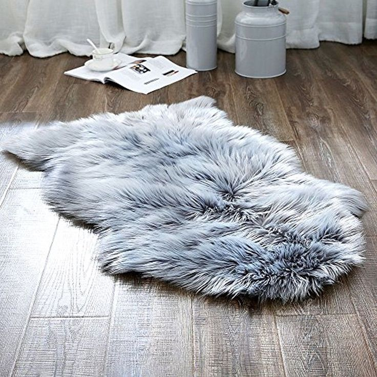 Deluxe Soft Faux Sheepskin Chair Cover Seat Pad Plain Shaggy Area Rugs For Sofa #Ojia