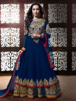 Navy Blue Georgette Anarkali Suit With Resham And Zari Embroidery Work www.saree.com