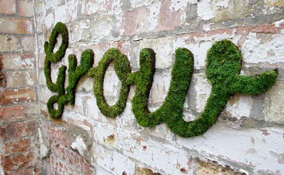 """Moss Graffiti is where it's at!!! <3 Oh my word!!!! How cool is this?!?! I am a huge fan of moss (or really anything that's green and grows up the side of walls) annnnddd interior brick design. I would totally take this idea indoors, and grow my moss graffitti on my favorite (non-direct-sunlit) wall! What an awesome idea! The """"recipe"""" is included in the blog post."""