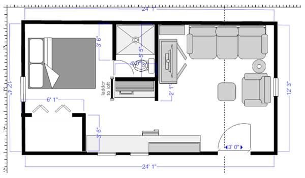Saw this o Tiny House.  It's a floor plan cracker cabin. Someone commented on the door being on the side of the house and that it opened up the opportunity to have a bit more space for living.  I think she was onto something...  If not on the side, in a corner instead of centered would also make sense I think.