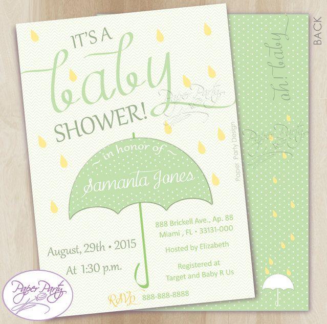Umbrella RainDrop Baby Shower Invitation  | Mint Umbrella Neutral Gender Baby Shower Invitation | Baby Shower Invites by PaperPartyDesignUS on Etsy