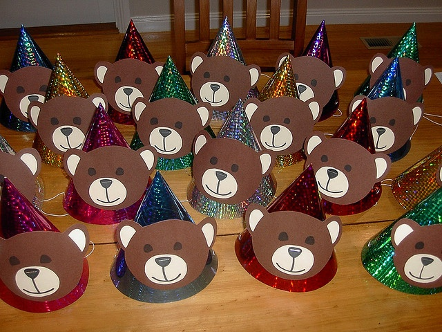Teddy bear picnic party hats. could do brown hats and just add ears on them, or try to make bear ear headbands