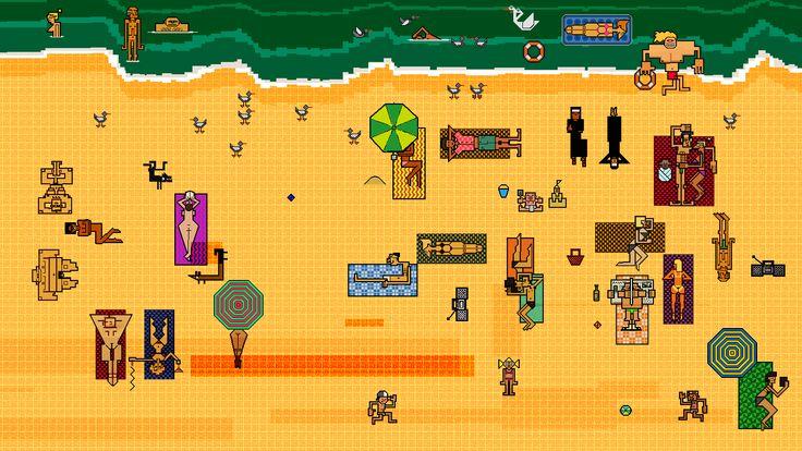 #8bit #art #pixel #animation #Tomasz #Wlaźlak #Border #beach #illustration