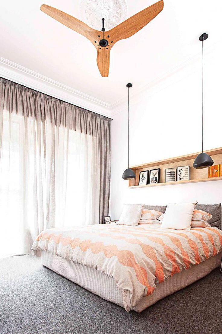 Jan15-window-treatments-modern-bedroom-sheer-curtains-ceiling-fan-hanging pendant lights
