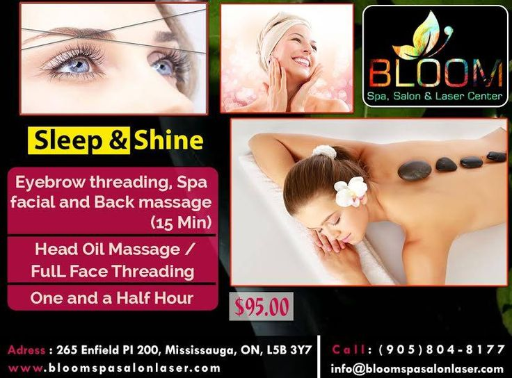 BLOOM Presents Sleep & Shine Package , Now Make Your Look More Glorious By Our Special Package.  Including : Eyebrow Threading , Spa Facial & Back Massage ( 15 Mins )  Head Oil Massage Full / Face Threading  Just In $95.00 For More Info & Appointment : Call : 904-804-8177 Visit : www.bloomspasalonlaser.com #salonnspa #Nails #nail #Beauty #Fashion #manicure #beautiful #cute #pedicure #silver #bridalmakeup