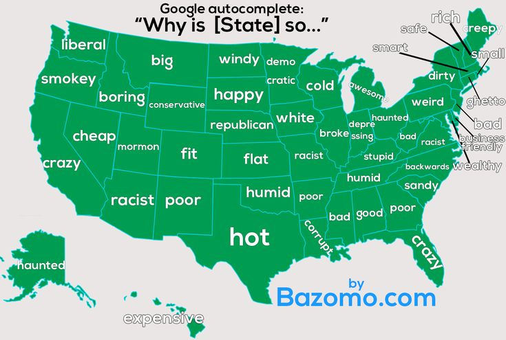 Ever wondered what each State In USA asks? on Google? Some questions may shock you! more at http://bazomo.com