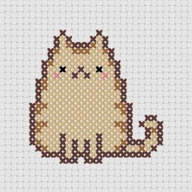 Kawaii Cat Cross Stitch !  Its PUSHEEN !!
