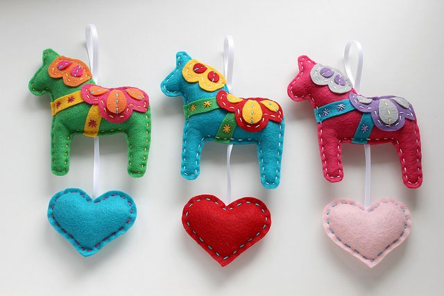 Eco Felt Dala Horses Red, Teal, & Hot Pink  by lova revolutionary, via Flickr