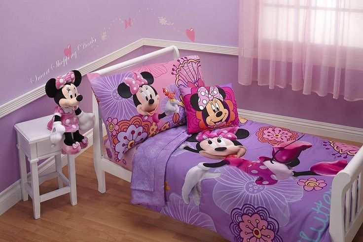 Minnie Mouse Toddler Bedding Set 4 Piece Kids Pillowcase Top Sheet Bed Sheets  #Disney