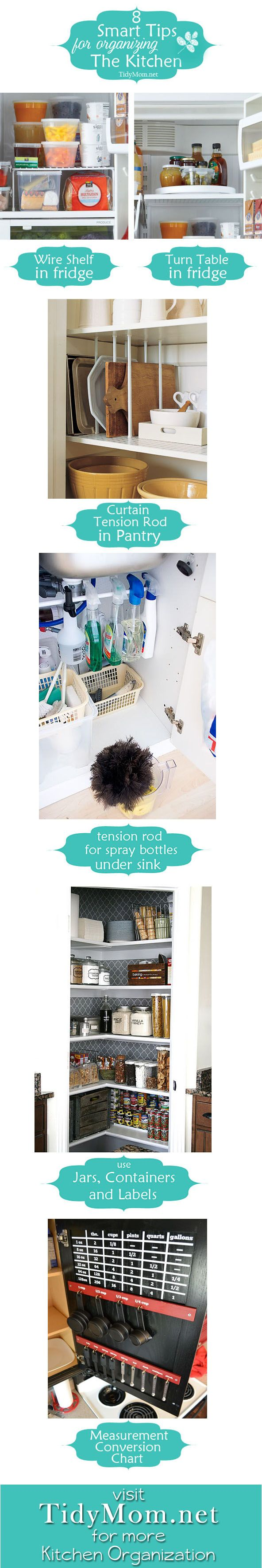 8 smart organizing tips for the kitchen at TidyMom.net